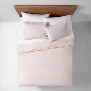 Peach yarn dyed tassel Twin/XL duvet cover set